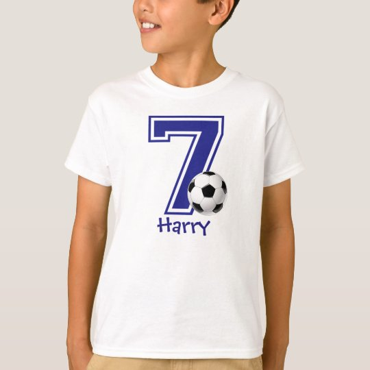 7th Birthday boy soccer personalised T-Shirt