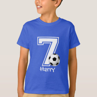 7th Birthday boy soccer personalized-2 T-Shirt