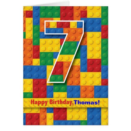 7th Birthday Boy, Stacking Blocks, Personalise Card