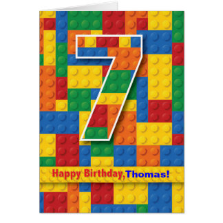 7th Birthday Boy, Stacking Blocks, Personalize Greeting Card