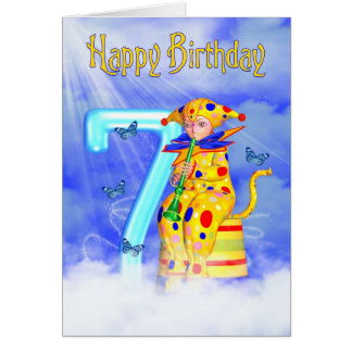 7th Birthday Card - Cute Little Pixie Clown