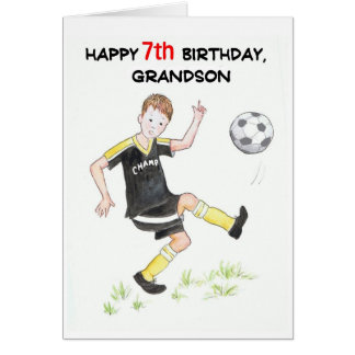 7th Birthday Card for a Grandson - Footballer