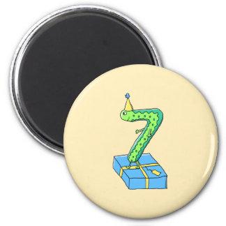7th Birthday Cartoon, Green and Blue. 6 Cm Round Magnet