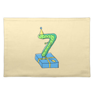 7th Birthday Cartoon, Green and Blue. Placemat