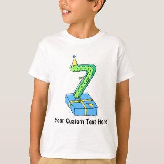7th Birthday Cartoon, Green and Blue. T-Shirt