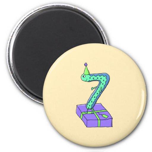 7th Birthday Cartoon. Refrigerator Magnets