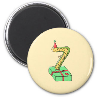 7th Birthday Cartoon, Yellow and Green. 6 Cm Round Magnet