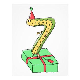 7th Birthday Cartoon Yellow and Green Custom Flyer