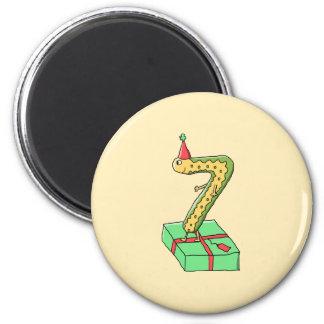 7th Birthday Cartoon, Yellow and Green. Magnet
