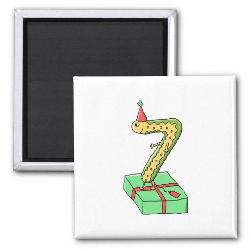 7th Birthday Cartoon, Yellow and Green. Fridge Magnet