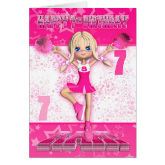 7th Birthday Cheerleader Dancing, Stars In Pinks Card