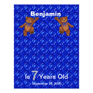 7th Birthday Dancing Bear Scrapbook Paper 1 Personalized Flyer