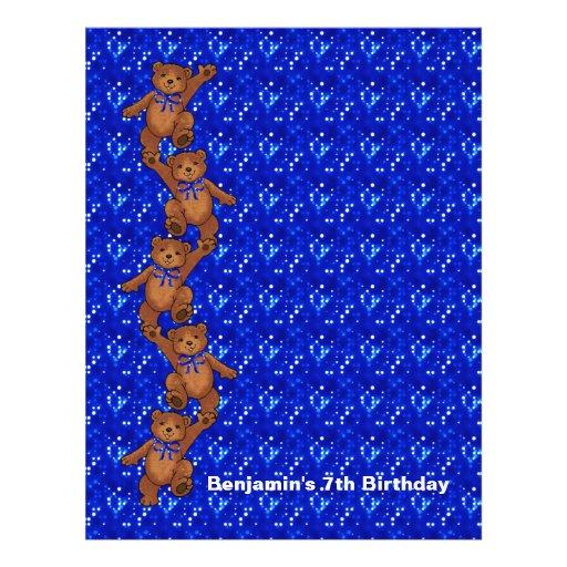 7th Birthday Dancing Bear Scrapbook Paper 2 Flyer Design