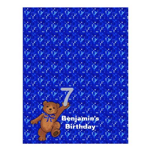 7th Birthday Dancing Bear Scrapbook Paper 3 Custom Flyer