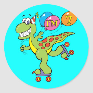 7th Birthday Dinosaur Round Sticker