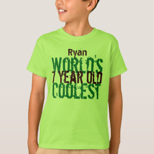 7th Birthday Gift Worlds Coolest 7 Year Old Boy T Shirt