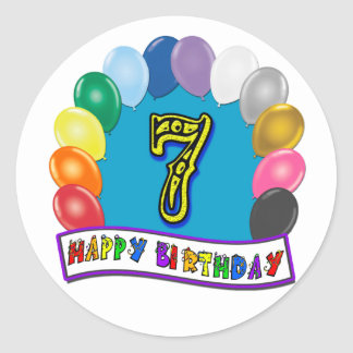7th Birthday Gifts with Assorted Balloons Design Classic Round Sticker