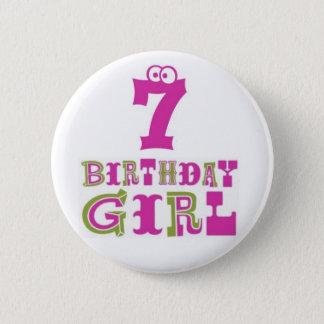 7th Birthday Girl Button Badge