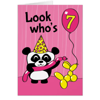 7th Birthday - Girl Panda with Balloons Card
