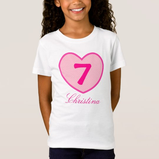 7th Birthday Girl Pink heart & Dots Personalised T-Shirt