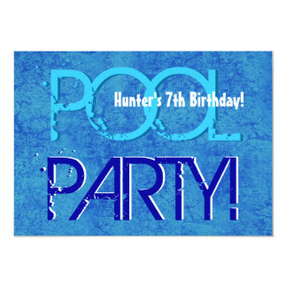 7th Birthday Kid's Pool Party Blue White V07 Card