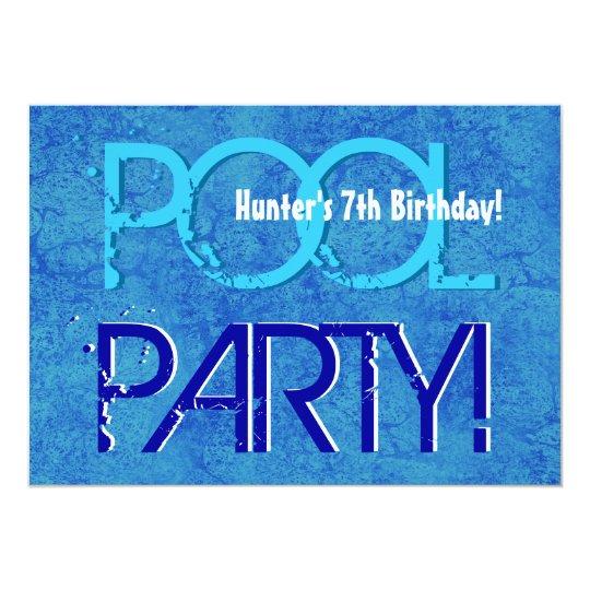 7th Birthday Kid's Pool Party Blue White V07