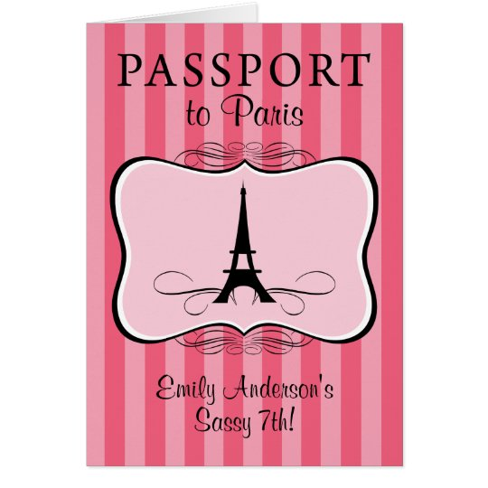 7th Birthday Paris Passport Card