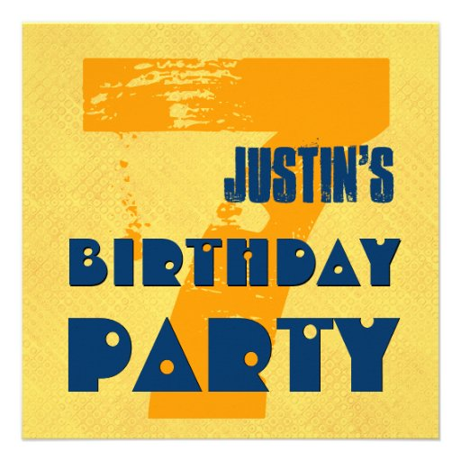 7th Birthday Party 7 Year Old Grunge Design Invites