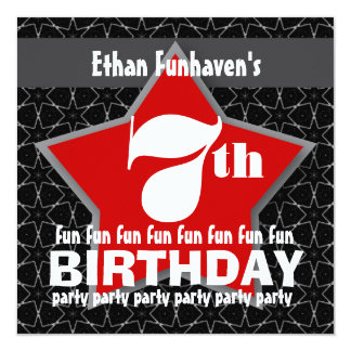 7th Birthday Party Black Red White STAR V07 Card