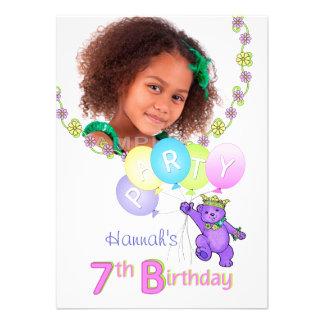 7th Birthday Party Princess Bear Custom Photo Personalized Invitation