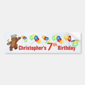 7th Birthday Party Teddy Bear Prince Car Bumper Sticker