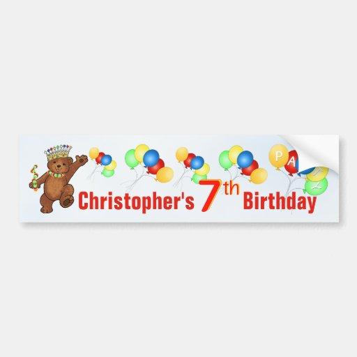 7th Birthday Party Teddy Bear Prince Bumper Stickers