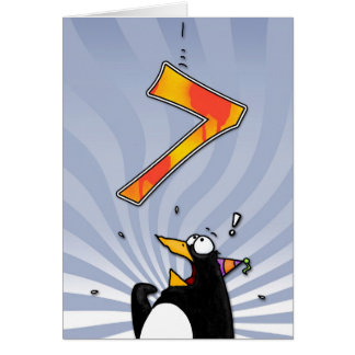 7th Birthday - Penguin Surprise Card