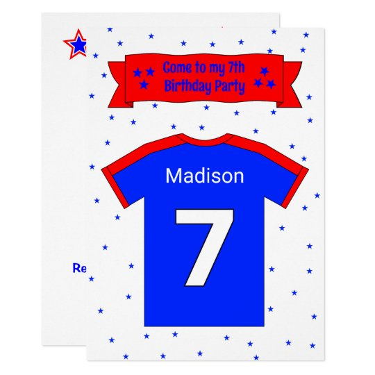 7th birthday personalised party invitation
