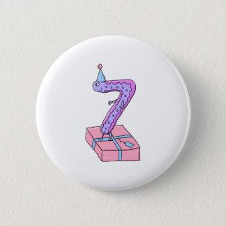 7th Birthday Pink and Purple Cartoon. 6 Cm Round Badge