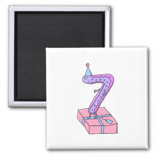 7th Birthday Pink and Purple Cartoon. Square Magnet