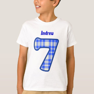 7th Birthday PLAID Seven Year Custom V02 T-Shirt