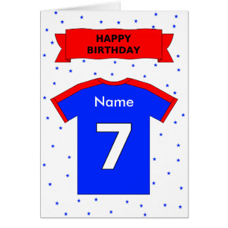 7th birthday red blue sports shirt personalized card