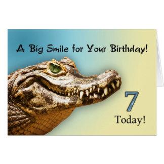 7th Birthday smiling alligator card