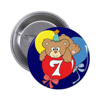 7th Birthday Teddy Bear (2) 6 Cm Round Badge