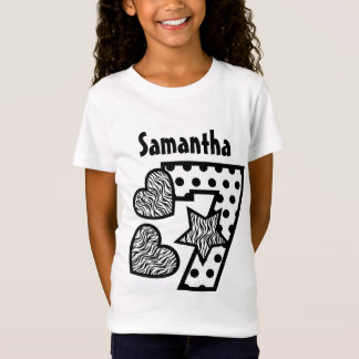 7th Birthday Zebra Hearts and Dots Seven Year 20F T-Shirt