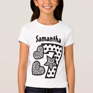 7th Birthday Zebra Hearts and Dots Seven Year 20F Tshirts