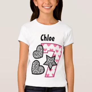 7th Birthday Zebra Hearts Seven Year Old 10F Shirt