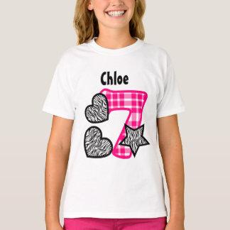 7th Birthday Zebra Plaid Seven Year Old 10FN Tshirts