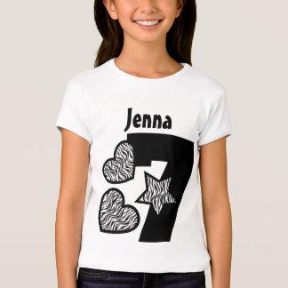 7th Birthday Zebra Star and Hearts Seven Years W1 Tshirt