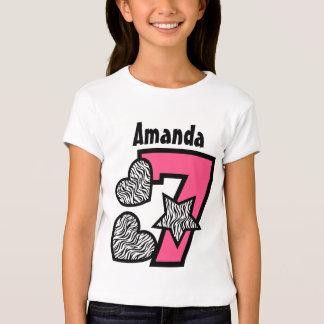 7th Birthday Zebra Star and Hearts Seven Years W2 Tshirts