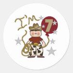 7th Cowboy Birthday Round Stickers