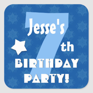 7th Kids Birthday Party Custom Name V6 Square Sticker