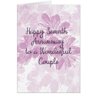 7th Wedding Anniversary Lavender Flowers Card