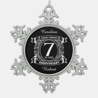 7TH wedding anniversary wool copper Snowflake Pewter Christmas Ornament
